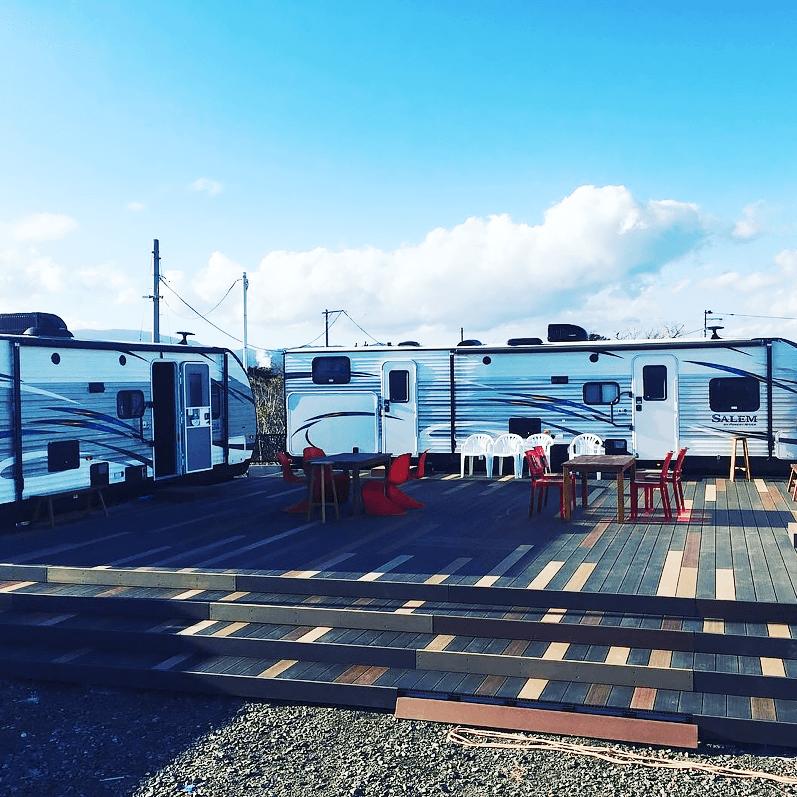クラフトマンシップ ウッドデッキ施工例:福島ベース シーオリーブ-NO.1 海を眺めるウッドデッキ