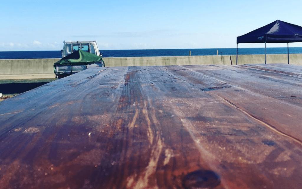 クラフトマンシップ ウッドデッキ施工例:福島ベース シーオリーブ-NO.7 海を眺めるウッドデッキ